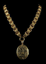 ANTIQUE VICTORIAN GOLD LOCKET AND COLLAR  CIRCA 1880