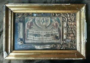 ANTIQUE RELIQUARY PICTURE ANGEL MEMENTO MORI RELIC LITHO SAINT MARTYR MOURNING