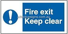 Fire Exit Keep Clear Sign Safety Signs Australian Made Quality Printed Sign