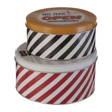 Set Of 2 Barber Shop Storage Tins Distinctive Barber Design Stripped Metal Tins