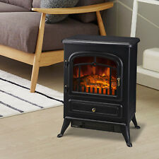 750W /1500W Adjust Electric Fireplace Free Standing Heater Wood Fire Flame Stove