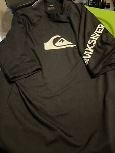 Quiksilver All Time SS Rash Guard - Black - GUC size Large