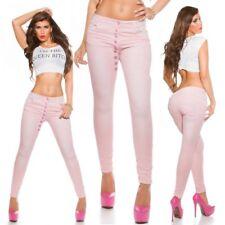 Damen Stretch Baggy Röhren Jeans Hose Knopfleiste 34 36 38 40 42 rosa
