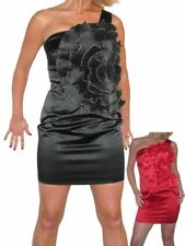 Womens Stretch Satin Mini Dress With Big Flower Detail Evening Party 8-12