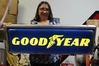 """Large Vintage 1970's Goodyear Tires Gas Station 36"""" Embossed Lighted Sign WORKS"""