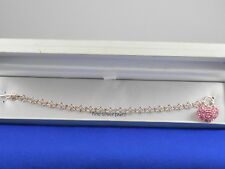 BELK SILVERWORKS Fine Silver Plate Pink Pave' Heart Charm Toggle Bracelet $55