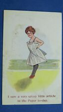 Risque Comic Postcard 1922 Bathing Beauty Newspaper Innuendo SPICEY ARTICLE