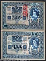 AUSTRIA 1000 KRONEN P59 1919 EURO LARGE SIZE UNC CURRENCY MONEY BILL BANK NOTE