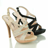 Beyonz72X Rhinestone Studded Platform Slingback Pump Heel Dress Sandals