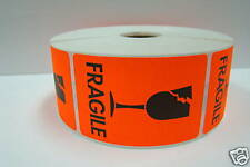 500 Labels 2x3 Br / Red BROKEN GLASS Shipping Mailing Fragile Warning Stickers