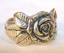DELUXE SINGLE ROSE SILVER BIKER RING BRAA16 mens OR WOMENS RINGS novelty jewelry