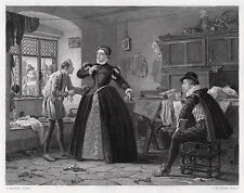 """Striking HENRY STACY MARKS Antique 1800s Engraving """"The Royal Tailor"""" SIGNED COA"""