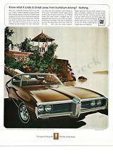 1969 PONTIAC LE MANS Expresso Brown Coupe art Fitzpatrick Kaufmann VTG PRINT AD