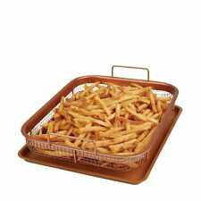 Copper Crisper 2 Piece Set Non-Stick Oven Mesh Chips Baking Tray Crisping Basket
