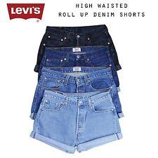 Gedreht Up Levis Vintage Damen Denimshorts mit Hohem Bund Gr. 6 8 10 12 14 16 18