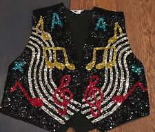 To The Max Medium 34 Black Vest Sequin Musical Notes Show Choir Glee Theater