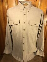 Orvis Mens Size Large Tan Brown Long Sleeve Button Down Shirt Nylon Polyester
