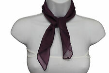 Women Small Neck Tie Scarf Sheer Fabric Pocket Square Dark Purple Classic Basic