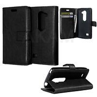 PU Leather Book Wallet Flip Case Cover For LG Spirit 4G LTE H440N (3G/LTE) Black