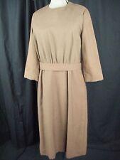 Vtg 50-60s Handmade Brown Fine Wool Dress-Bust 39/M, need repair!