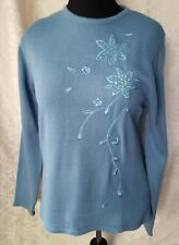 Haband womens sweater pull over size M color light blue  embroidered flowers pre