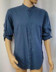 Zara Man Slim Fit Sz XL  linen Blend Blue Men's Shirt LS Mandarin collar #WM1