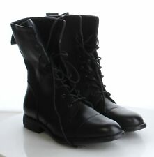 40-42 MSRP $149.95 Women's Size 10M Born Neon Black Leather Lace-Up Combat Boots