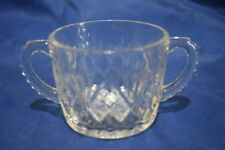Crystal Sugar Bowl with Double Handles - Pressed Glass - Diamond and Pineapple F