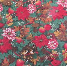 Vtg large scale Christmas cotton fabric Chipmunk Bird Poinsettia BTHY Half yard