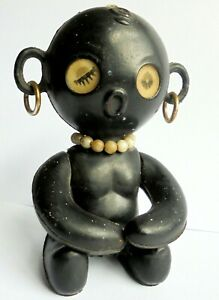 Very Rare 1950's unusual Black Celluloid/ Early Plastic Black Doll. 4 inch High