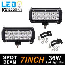2x 7 INCH 36W LED WORK LIGHT BAR SPOT OFFROAD ATV FOG TRUCK LAMP 4WD 12V 6