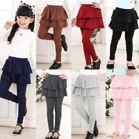 Toddler Girl Skirt Cake Culotte Skirt Baby Warm Leggings Dress Pants 3-11Y