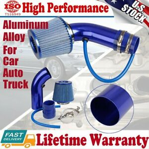 "Diameter 3"" Air Flow Intake Kit Blue Pipe+Cold Air Intake Filter Clamp Accessory"