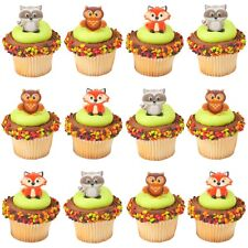 WOODLAND ANIMAL CUPCAKE RINGS DECORATIONS TOPPERS PACK OF 12 FOREST PARTY
