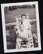 Antique Vintage Photograph Woman Sitting in Lounge Chair w/ Two Cute Children