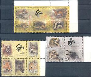 Russia 1988 1989 1990 Fauna. Birds. Animals, 3 sets, MNH