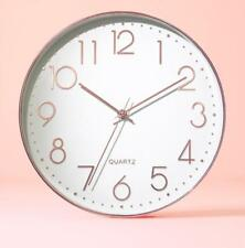 Premium Modern Sweep Round Wall Clock NO Ticks Kitchen School Rose Gold