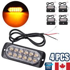 4PCS 12LED Car Emergency Amber Flashing Warning Strobe Light Hazard Grill Bar CA