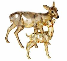 NIB $405 Swarovski Figurine DOE & FAWN Crystal Golden Shadow Deer Pair  #1142843