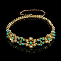ANTIQUE VICTORIAN TURQUOISE PEARL FORGET ME NOT BRACELET 15CT GOLD CIRCA 1880