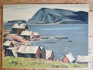 Vintage JS Hallam Cape Breton Harbour Screenprint Sampson and Matthews