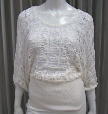Bebe NWT Short PUFF Sleeve Boat Neck Crocheted Sweater Size XS White 071