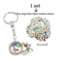 Crystal Round Glass Locket Keychain Keyring+10pcs Floating Charms Free Shipping
