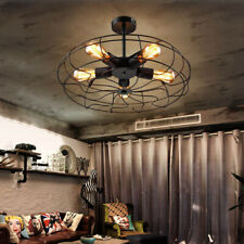 Industrial Retro Vintage Iron Ceiling Light Fan Chandelier Pendant Lamp Fixture