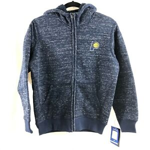 NBA Indiana Pacers Youth Boys Hoodie Fleece Lined Full Zip Marled Blue M 12-14