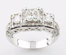18K White Gold 3-Stone Princess Cut Diamond Engagement Ring Sz 6.75 TDW = 1.70ct