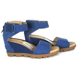 Sorel joanie ll ankle strap leather nubuck blue shadow slingback wedge sandals