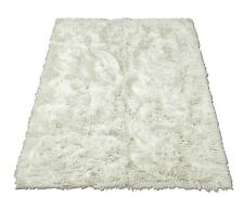 Soft Shaggy Faux Fur Area Rug Throw Accent Play Rug Plush WHITE Rectangle 5x10