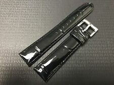 18mm Glossy Black Genuine Calf Leather Shiny Slim Watch Band Tang Buckle