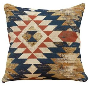 "Heavyweight Turkish Kilim Cushion. Double Sided 17x17"" Square. Woven geometric."